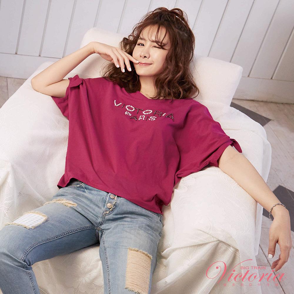 Victoria LOGO縫珠袖綁帶寬鬆短袖T-女-暗紫紅