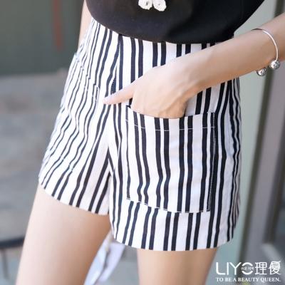 LIYO理優褲子直條紋高腰短褲(黑)