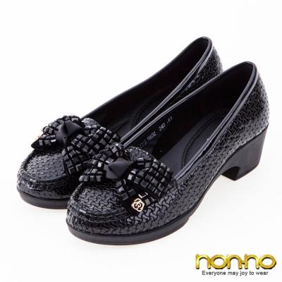 nonno-亮面編織-絨面方鑽蝴蝶結莫卡辛跟鞋-黑