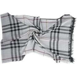 BURBERRY 經典格紋漸層設計羊毛絲綢圍巾(灰白色)