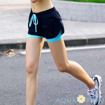 運動褲 透氣網狀假兩件拼接短褲 (湖藍色)-AQUA Peach