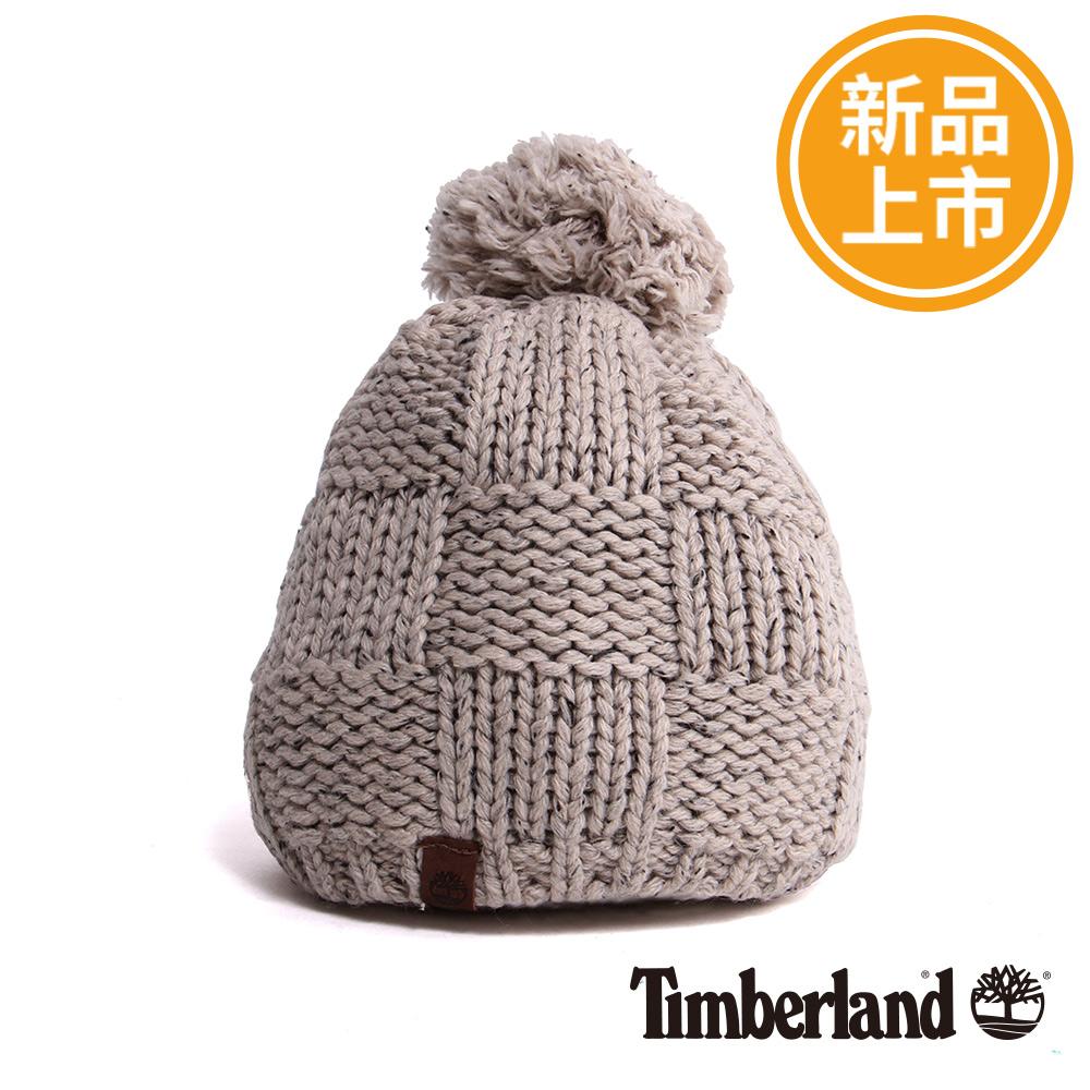 Timberland女款淺灰色素面格紋針織毛帽