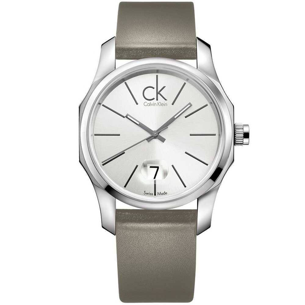 cK Biz 八角設計都會風造型腕錶-銀/42mm