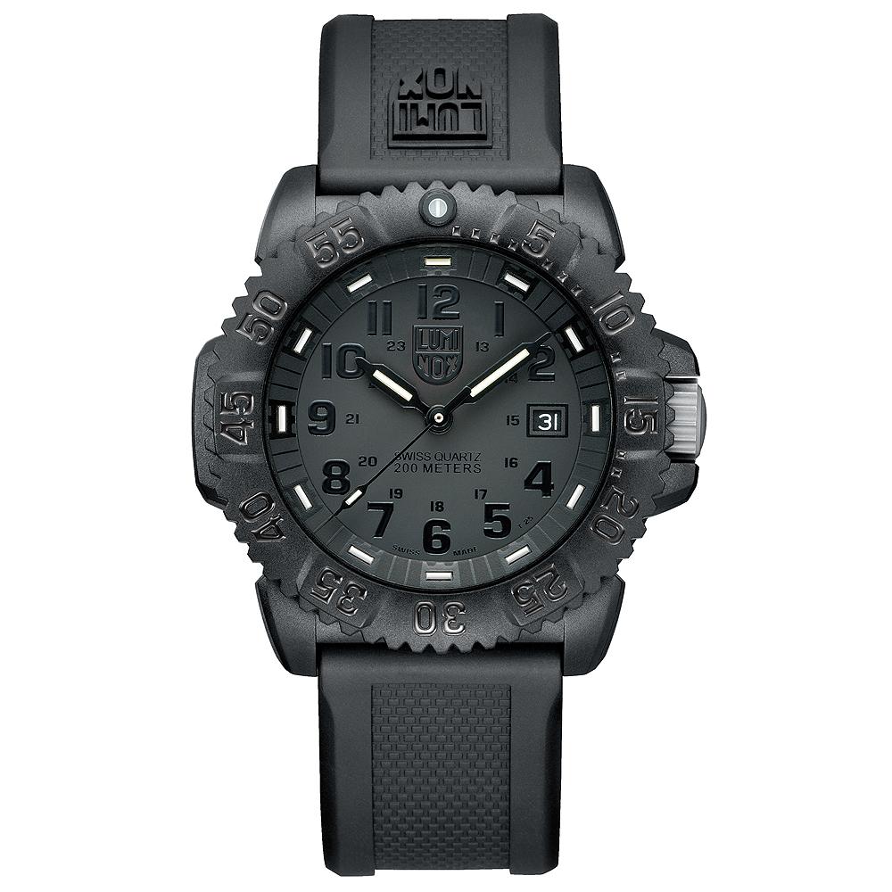 Luminox 3050系列海豹部隊經典運動腕錶-黑/44mm