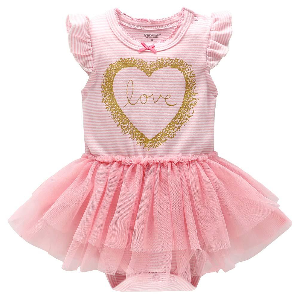 Baby unicorn粉條紋金心紗裙洋裝