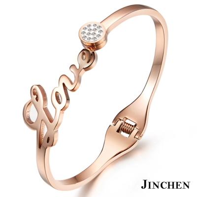 JINCHEN 白鋼LOVE氣質手環 玫瑰金