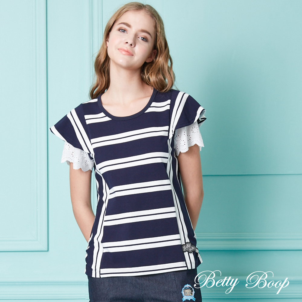 Betty Boop貝蒂 布蕾絲荷葉袖條紋彈性上衣(共兩色)