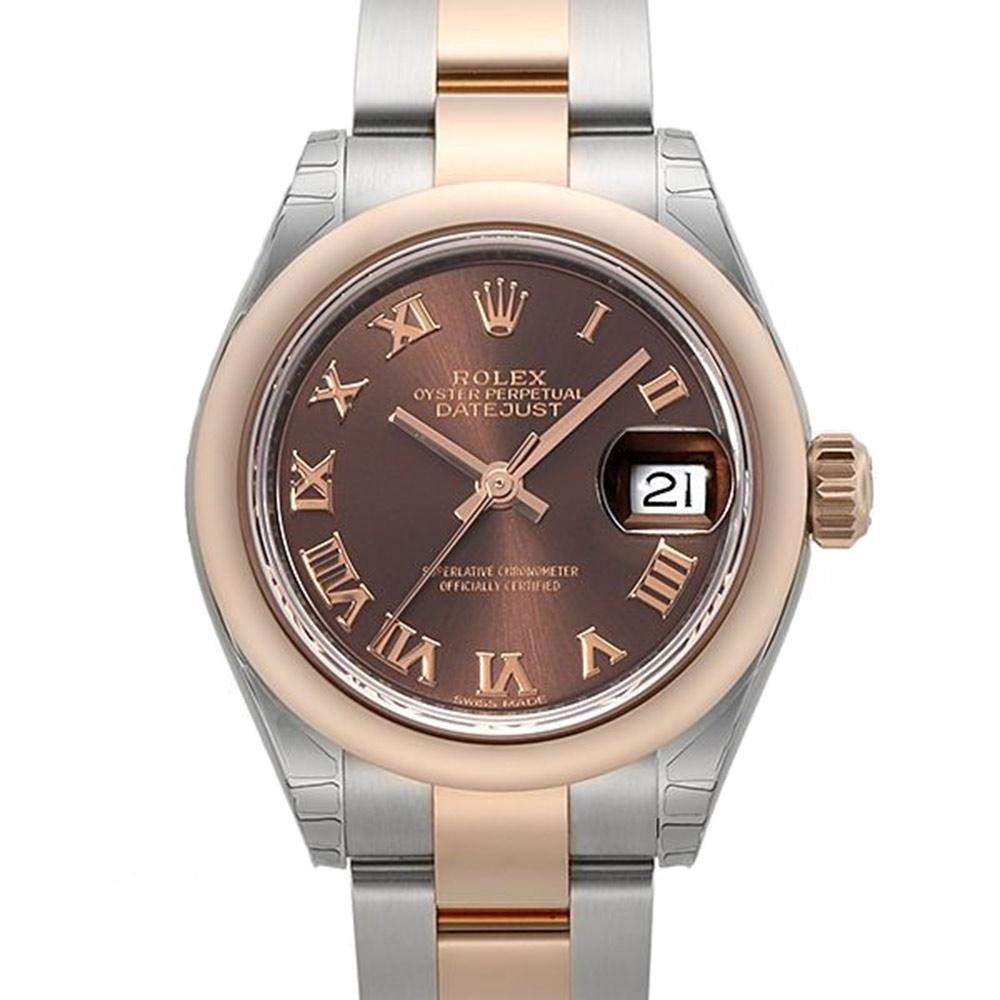 ROLEX 勞力士Datejust 279171蠔式半金日誌型羅馬腕錶x巧克力x28mm