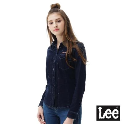 Lee牛仔長袖襯衫-女款-深藍色