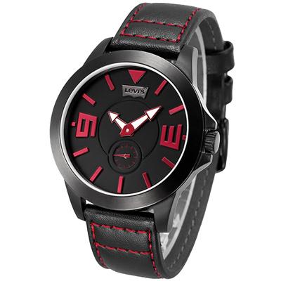 Levi s 即刻對戰獨立小秒針手錶-黑紅/42mm