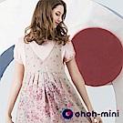 ohoh-mini 歐歐咪妮 氣質玫瑰小印花假兩件孕哺吊帶裙