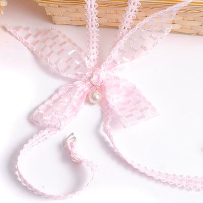 Aimee Toff 飄帶編織蝴結交叉造型肩帶(粉)