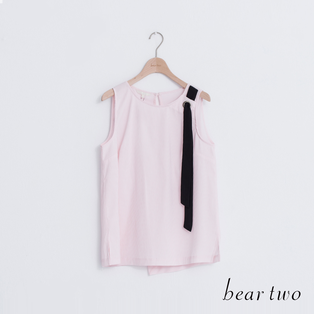 beartwo 後背交叉剪裁直紋背心(二色)