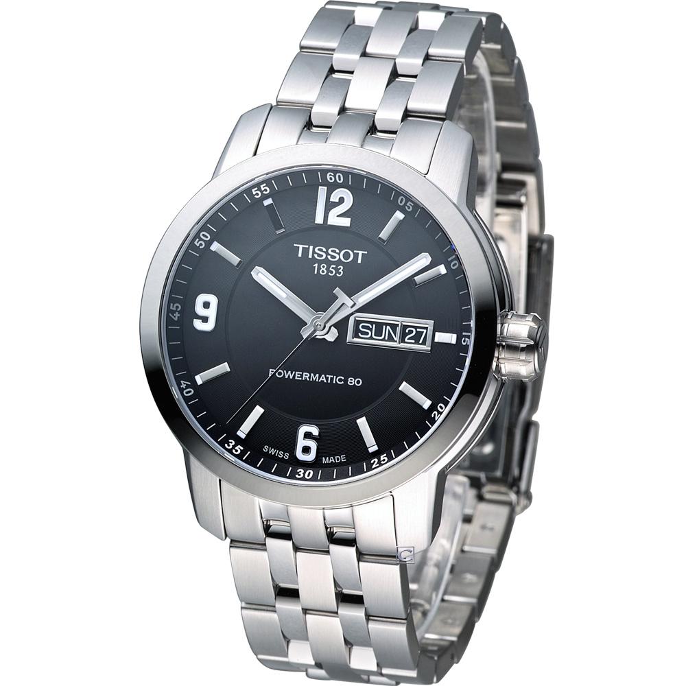 TISSOT PRC-200 Powermatic 80 紳士機械腕錶-黑/41mm