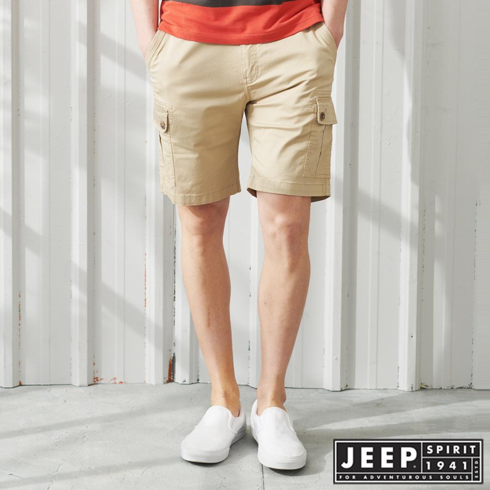 JEEP 彈性雙口袋休閒短褲-卡其