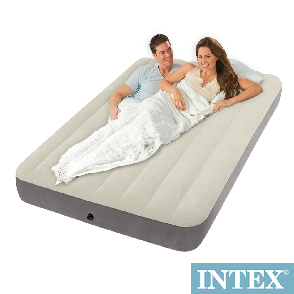 INTEX 新型氣柱-雙人植絨充氣床墊-寬137cm(64708)