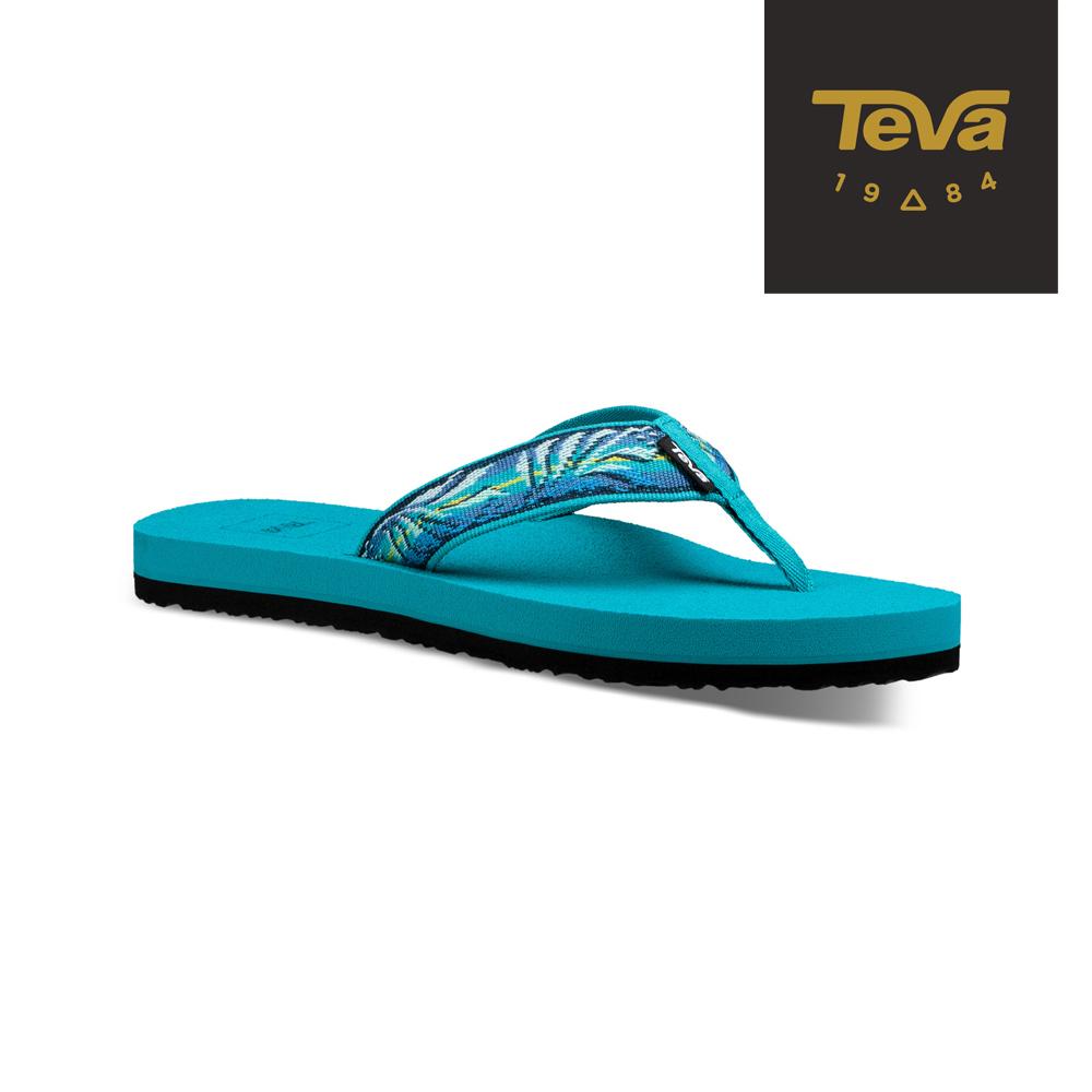 TEVA 原廠貨-女 Mush II 經典織帶夾腳拖鞋/雨鞋/水鞋 天空藍