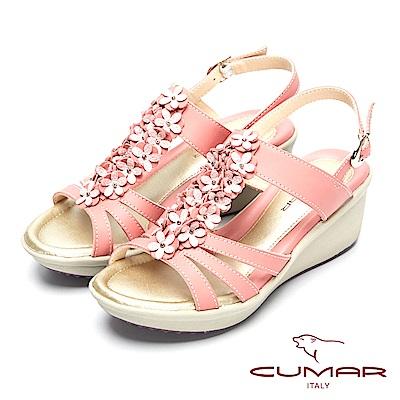 CUMAR舒適大底-舒適船型大底真皮涼鞋-粉紅