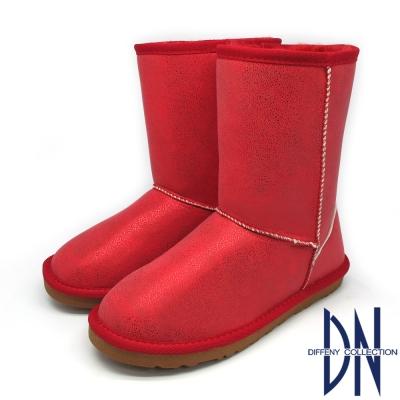 DN 暖冬甜心 珠光好感保暖中筒雪靴 紅