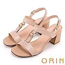 ORIN 夏日簡約時尚 皮帶釦環壓紋牛皮粗高跟涼鞋-膚色