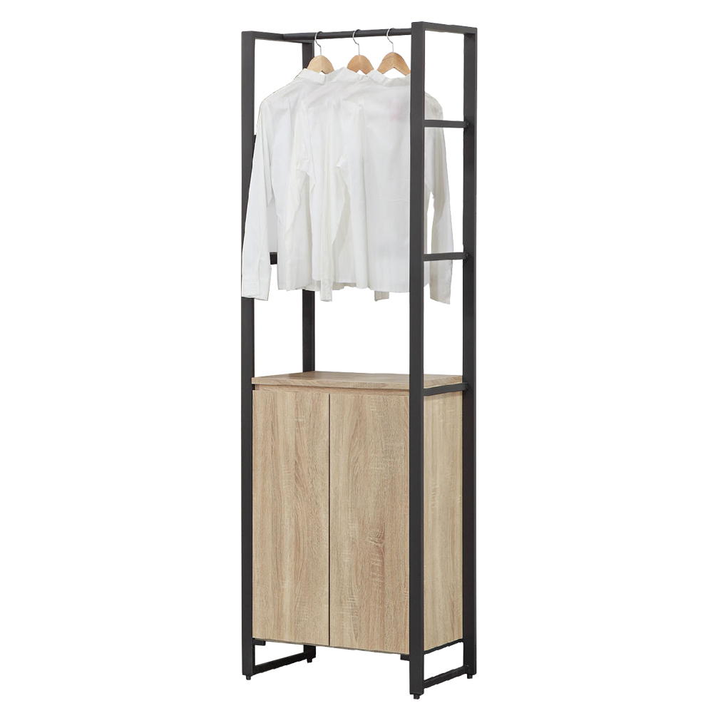 AT HOME-哈佛2.3尺梧桐鐵架雙門單吊收納衣櫃(68*40*192cm)