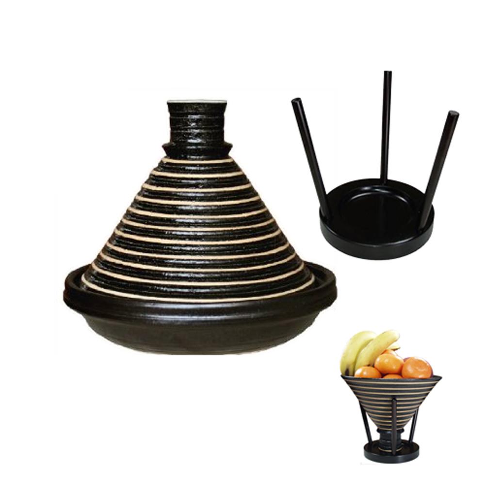 日本長谷園伊賀燒  摩洛哥健康無水料理高帽蓋陶鍋(大3-5人)送木製鍋蓋架