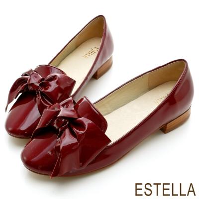 ESTELLA-米蘭時尚-柔軟漆皮大蝴蝶結樂福鞋