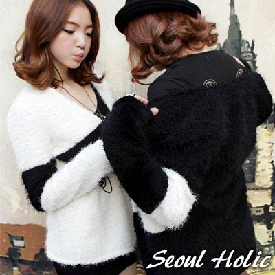Seoul-Holic-附腰帶色塊毛毛感外套-共二色