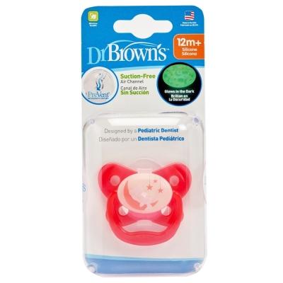 美國Dr Brown 布朗博士PreVent功能性夜光安撫奶嘴 粉2個12個月+(附收納盒