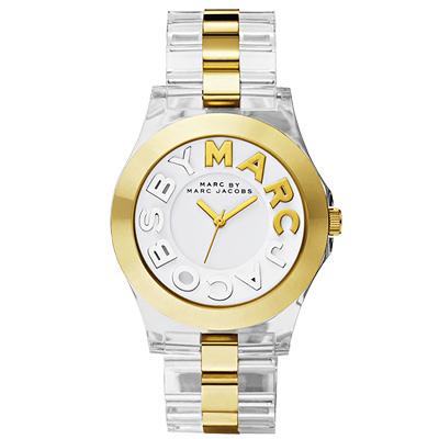 Marc Jacobs MARC 繽紛玻麗腕錶-透明/金/40mm