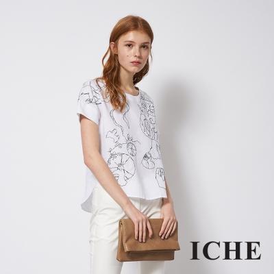 ICHE 衣哲 時尚線條印花簡約百搭造型上衣