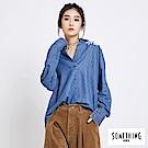 SOMETHING 牛仔花卉刺繡襯衫-女-中古藍