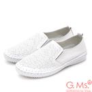 G.Ms. 洞洞牛皮縫線懶人休閒鞋O款-白色