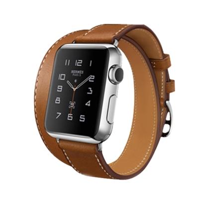 Morbido蒙彼多 時尚真皮款Apple Watch 雙圈手工牛皮錶帶42mm(棕)