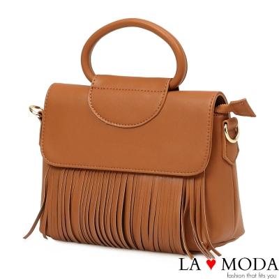 La Moda 人氣熱銷款流蘇設計大容量軟皮肩背斜背郵差包(棕)