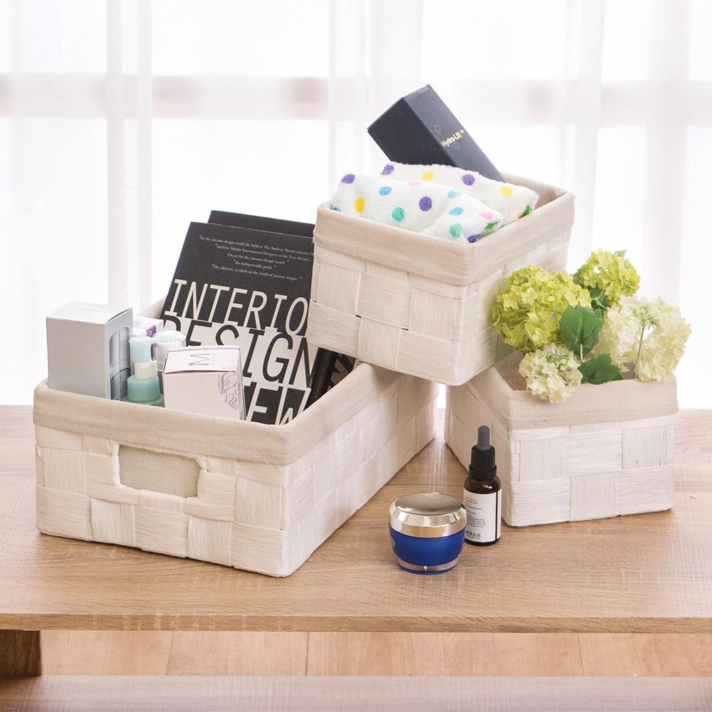Bernice-布套編織收納籃/野餐置物盒組合(3+3入)(白色)35x24x14cm