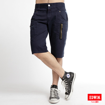 EDWIN-復古二手-B-T-麂皮拉鍊短褲-男款-黑藍