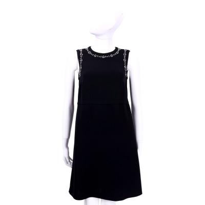 MAX MARA 黑色鑽飾滾邊設計無袖洋裝