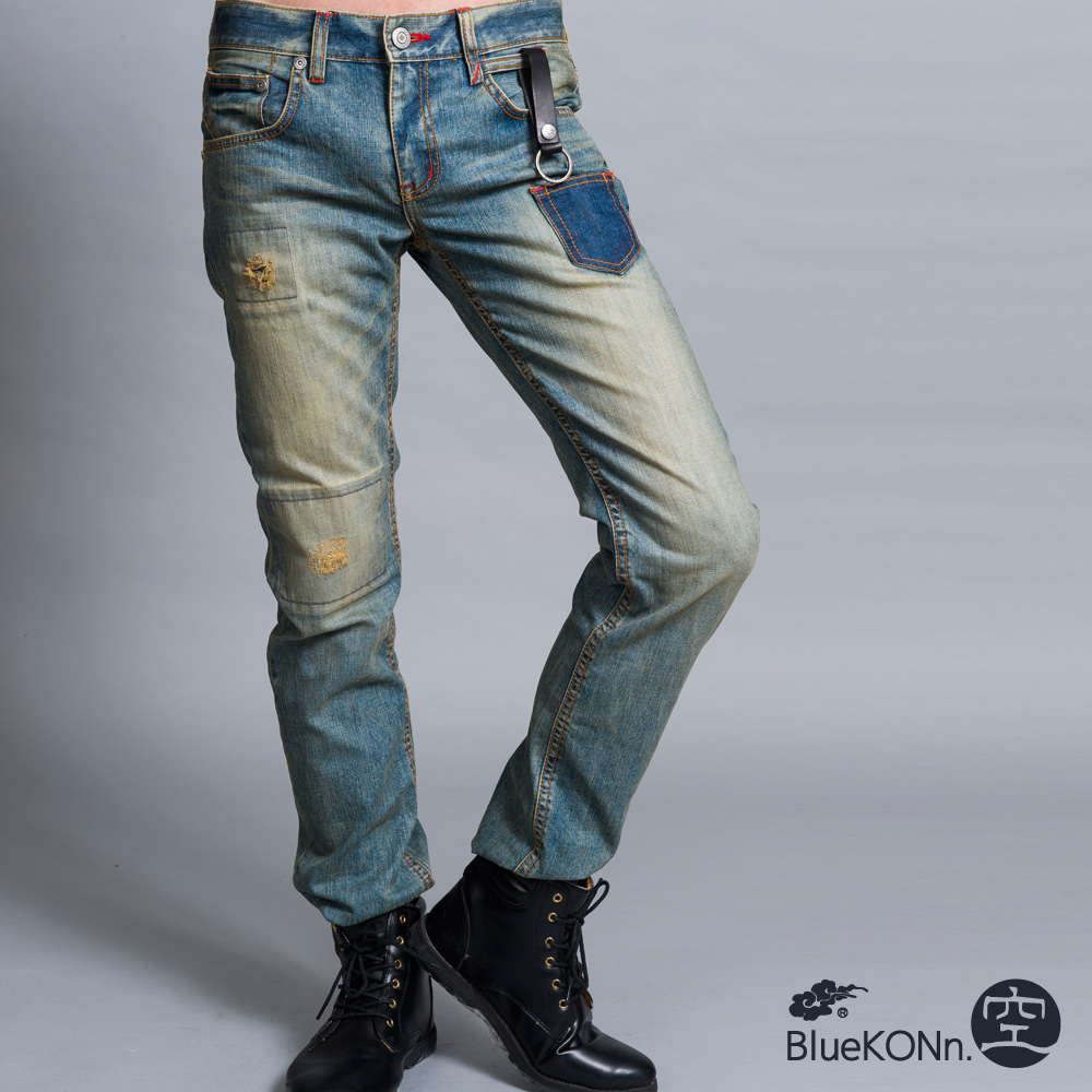 空 BLUE WAY 復古小口袋中低腰直筒褲