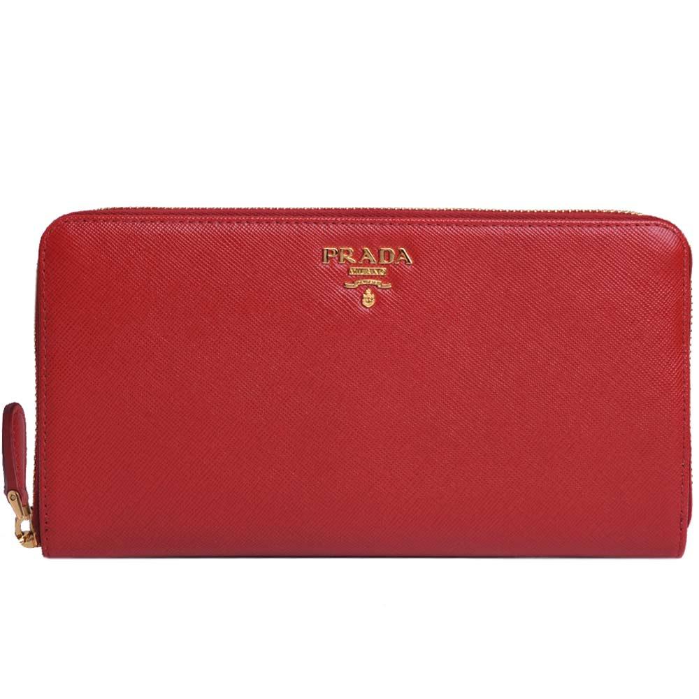 PRADA SAFFIANO 金色LOGO防刮皮革拉鍊旅行大機能長夾(RED/紅)