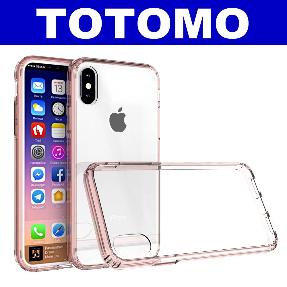 TOTOMO  For:iPhone X 防摔保護殼(高顏質超透感硬背板)-粉邊