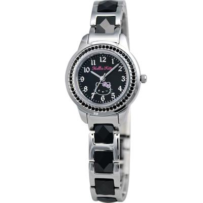 HELLO KITTY 璀璨晶鑽時尚陶瓷腕錶-黑/28mm