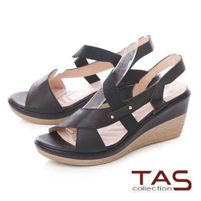 TAS鏤空鬆緊繫帶楔型涼鞋-經典黑
