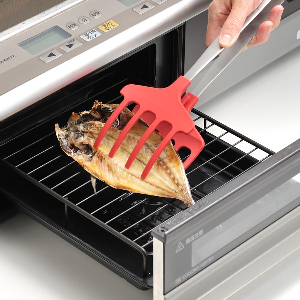 UCHICOOK 便利耐熱烤魚夾(紅色)