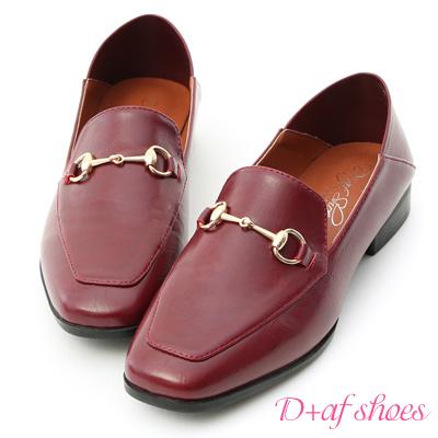 D+AF 紳士嚴選.馬銜釦可後踩平底樂福鞋*紅