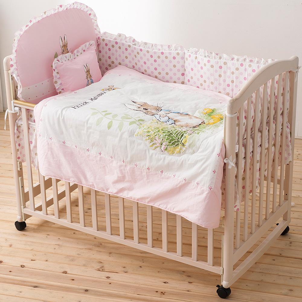 奇哥 白色大床+花園比得兔六件床組L-粉紅