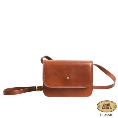 SOBDEALL 沙伯迪澳 - 真皮斜背包 方型設計(小) 磁扣 可調式背帶 經典咖啡