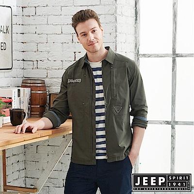 JEEP 舒適輕薄襯衫式外套-墨綠