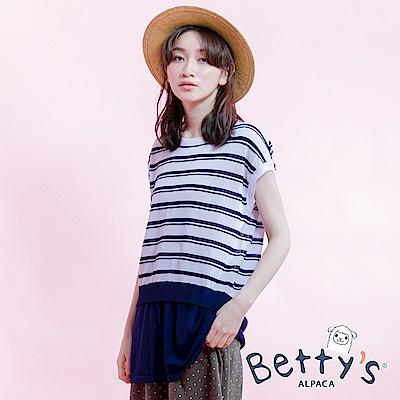 betty's貝蒂思 無肩線短袖條紋針織線衫(藍色)