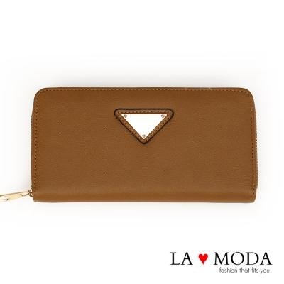 La Moda 時尚品牌Look~柔軟皮革大容量拉鍊長夾(淺咖)